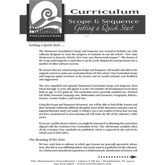 Montessori Curriculum Scope Sequence