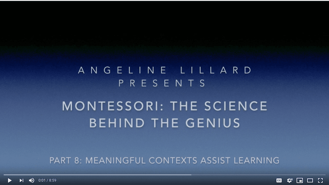 Montessori: The Science — Part 8: Meaningful Contexts Assist Learning